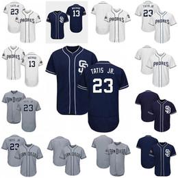 Jersey de beisbol negro barato online-2019 camisetas para hombre baratas San Diego 23 Fernando Tatis Jr. Padres 13 Manny Machado negro blanco gris Camisetas de béisbol frescas