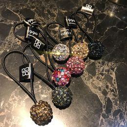 kristallgummis Rabatt Exquisite Voll Strass Ball Haaransatz Glänzend Hohe Qualität Österreichischen Diamant 1990 Dicke Gummiband Pferdeschwanz Seil 6 Farben