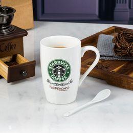 Starbucks café xícara cerâmica on-line-Melhor qualidade Starbucks criativo copo cerâmico com colheres 4 estilo boca larga caneca de café presente de natal copo de água por DHL