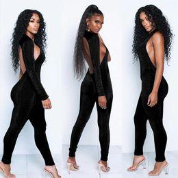 c5cb3c3dac8 one shoulder slope neckline turtleneck jumpsuit single long sleeve 2019  autumn Women sexy black solid swimsuit female bodysuit