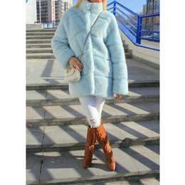 blauer nerzmantel Rabatt FURSARCAR Frauen-Winter-beiläufige Dickes Fell Mink mit Kragen Sky Blue Solide realer Pelz Nerz-Mantel Luxus Female Plus Size Jacke