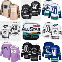 6d8bed418 2019 All Star Vancouver Canucks 40 Elias Pettersson 53 Bo Horvat Brock  Boeser Josh Leivo 25 Jacob Markstrom Antoine Roussel Jersey vancouver  canuck jersey ...