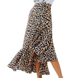 Lato oscillante online-Donne Sexy Side Slits Vita alta Ruffled Leopard Stampa Retro Slim Grande Swing Gonna semplice 2019 Autunno Vendita calda Irregolare Gonne