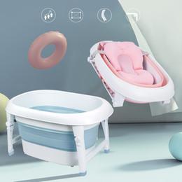 2019 bañera antideslizante Recién nacido portátil plegable bañera de baño de gran tamaño antideslizante inferior material no tóxico niños cubo de la bañera para el baño del bebé rebajas bañera antideslizante