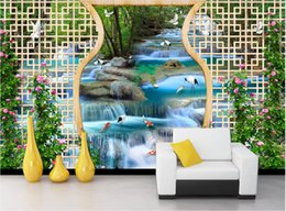 fiber flow Coupons - 3d room wallpaper custom photo mural Flowing water waterfall, crane, squid, TV, sofa, wall wall art canvas pictures wallpaper for walls 3 d