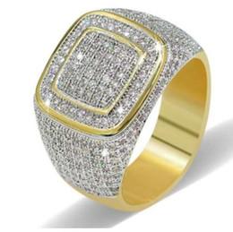 2019 ouro chinês barato Anéis grandes para Homens Mulheres Iced Out Bling Quadrado Anel de Hip Hop Micro Pave Strass Anel de Ouro Acessórios de Jóias de Cor Z4N942