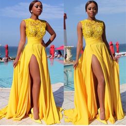 607da802bb2 Sexy A-Line Robe De Soiree Long Yellow Chiffon Evening Dresses with Side  Slit Sleeveless Vestido De Festa Satin Prom Gowns