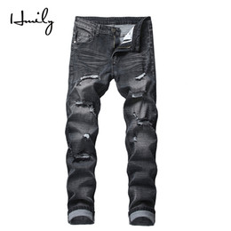 2019 strappato i jeans scarni grossi buchi HMILY Mens Skinny Jeans Uomo Slim Fit Hole Biker Strappato Denim Hip Hop Moto Rock Rap Jeans Big Size 42 Pantaloni strappato i jeans scarni grossi buchi economici
