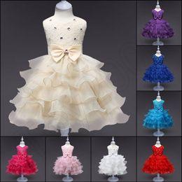 2019 matrimonio di inverno del vestito dalla ragazza di fiore Fashion Girls Wedding Princess Dress Winter Formal Gown Ball Flower Abbigliamento per bambini Abbigliamento per bambini Party Girl Dresses sconti matrimonio di inverno del vestito dalla ragazza di fiore