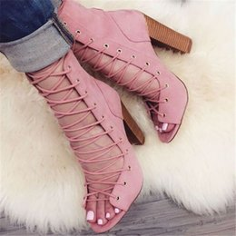 chunky heel evening shoes Promo Codes - ZDONE Handmade Ladies Thick Heel Pumps Kid-suede Crosscriss Straps Shoes Open-toe Big-size Party Prom Fashion Dress Evening Shoes D002