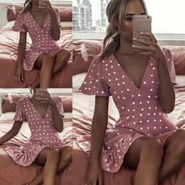 mini vestido de praia rosa Desconto Mulheres Verão Sexy Com Decote Em V Polka Dot Manga Curta Mini Vestido Senhoras Boho Praia Floral Holiday Rosa Vestidos