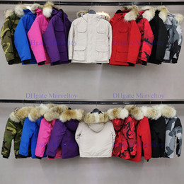 Niños gore tex chaquetas online-Verdadera piel de lobo para niños Abrigos niños chaqueta del invierno abajo cubren la chaqueta del diseñador de lujo Doudoune abrigos de invierno de ropa de niñas Goose cuerpo más caliente chaquetas