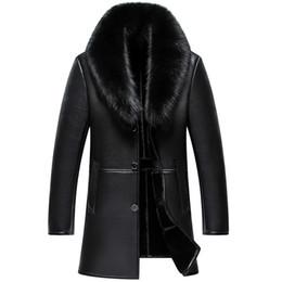 2019 подлинные черные шубы Men Leather Jacket New Genuine Leather Winter Coats Male  Fur Collar Casual Jackets Male Plus Velvet Jaqueta Masculino BLACK дешево подлинные черные шубы