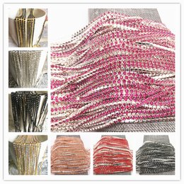 yard cup wholesale Promo Codes - Wholesale 1-Row 1 yard SS6 Cystal Rhinestone Trim Close Cup Chain Claw DIY Jewelry Making