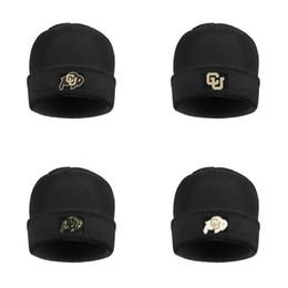 Эмблемы буйвола онлайн-Колорадо буйволы футбол Золотой логотип Мужская Женская мягкая шерсть Cap Омывается Beanie Hat Unisex футбол черный Камуфляж белый логотип