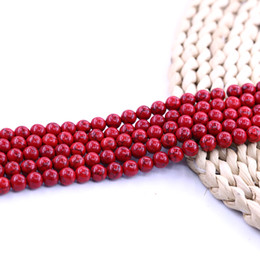 Ensemble de bijoux turquoise perles en Ligne-Perle De Pierre Naturelle Turquoise Rouge 4mm 6mm 8mm 10mm 15 Pouce Brin Par Ensemble En Gros Pour La Fabrication de Bijoux