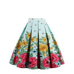 Alta cintura flare saias on-line-2019 saia das mulheres do vintage a linha impressa plissada flared midi saias com bolsos de cintura alta senhoras verão saia plus size