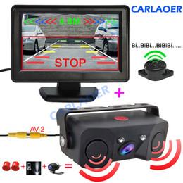 câmera vermelha mais barata Desconto Câmera de Estacionamento Reversa do carro Com Sensor de Radar auto Câmeras de Visão Traseira Visão Noturna Retrovisor Sensor de Estacionamento Radar 4.3 polegada tela
