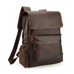 Fábrica saco barato on-line-Handmade Anti Roubo Sacos Mochila De Couro Mochila Escolar Laptop Caminhadas Sacos De Couro Genuíno para Homens com Preço de Fábrica Barato