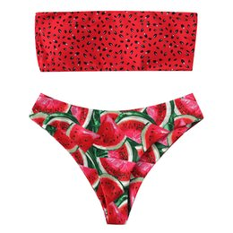Costumi da bagno Donna Stampa Tube up Due pezzi Biquini Costume da bagno push-up Costumi da bagno Beachwear rosso Costume da bagno biquini 2019 costume da bagno da