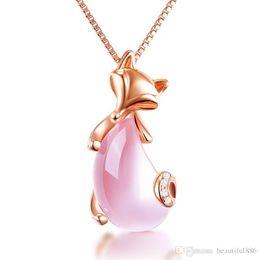 Monili di trasporto di goccia all'ingrosso oro rosa sesso sesso volpe animale quarzo rosa collana di opale rosa per le donne ragazze choker da