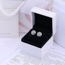 2019 diamante opale nero Orecchino a disco CZ Pave design classico per donna Logo scatola originale per orecchini Pandora in argento sterling 925