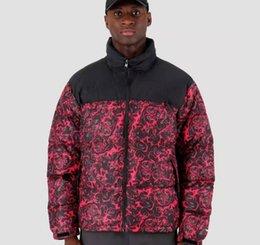 2019 casaco de tartaruga Rose Impressão Down dos homens revestimento do revestimento Casacos Moda à prova de vento Grosso Casacos Norte Turtle Neck Inverno casaco de tartaruga barato