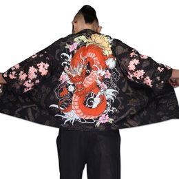 Quimono homem japonês on-line-Yukata haori homens quimono japonês cardigan homens traje samurai kimono jaqueta de roupas masculinas camisa yukata haori TA001