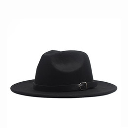 2021 frauen wolle panama fedora Autumn winter Flat Brim Wool Felt Fedora Hats with buckle Jazz Formal Hat Panama Cap plain hat Men Women big brim felt hat