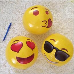 2019 l'acqua della piscina di colore PVC Emoji Beach Balls Giocattoli gonfiabili Soft Ball Bambini Estate Estate Giochi acquatici Pool Party Giocattoli Emoji Colore casuale Face Expression Beach Ball l'acqua della piscina di colore economici
