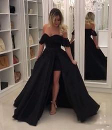 Robe de soirée courte devant longue en Ligne-2019 nouvelle robe de bal noire de l'épaule avec train détachable courte à l'intérieur des robes de soirée longues robes de soirée