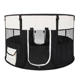 "plastic pet pen Coupons - 45"" Circular Portable Foldable 600D Oxford Cloth & Mesh Pet Playpen Fence with Eight Panels Black US Free shipping"