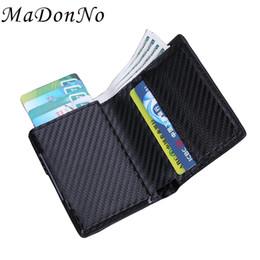 Tarjeta de walet online-Rfid tarjeta de los hombres pop-up carteras de cuero delgado de cuero delgado monedero monedero masculino corto embrague magia billetera inteligente pequeño walet negro # 304474