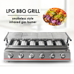 BBQ Grill Gas Barbecue Portable Flat Environmental for Indoor Outdoor Nonstick Roasting Tray LPG Gas 6 Burners churrasqueira