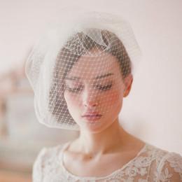 Mignon en Ligne-Vintage Birdcage Wedding Veils Face Blusher Pièces De Cheveux De Mariage Deux Niveaux Brindilles Miel Coiffure De Mariée Voile De Mariée # V004