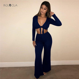 cf64429d8b79 2019 Women Pants 2 Two Piece Set Sexy Club Bandage Suit Female Casual Crop  Top Long Pants for Womens Outfits Women x27s Clothing