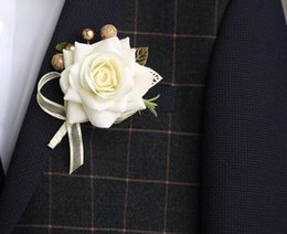 2019 seidenrose handgelenk corsage Rose Boutonnieres Handgelenk Blume Seidenrosen Weiß Rosa Hochzeit Corsagen und Boutonnieres Bräutigam Blume Boutonnieres Ehe Prom rabatt seidenrose handgelenk corsage