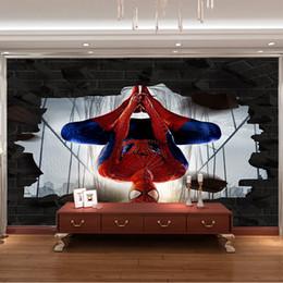 soffitti stellati Sconti Carta da parati 3D personalizzata Spiderman Murals Avengers Wallpaper Avengers Fumetti foto wallpaper Ragazzi Bambini Camera da letto Soggiorno Arredamento camera Superhe