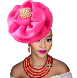 Fasce di spilla online-Fascia di turbante di headtie della Nigeria con la fascia per capelli del partito del fiore della spilla per signora