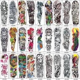 Pegatinas para pintar el cuerpo online-Brazo completo Mangas temporales del tatuaje Pavo real peonía dragón cráneo Diseños Impermeables Hombres frescos Mujeres Tatuajes Pegatinas Arte de cuerpo pinturas