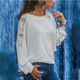 9c51cd3f6853 Designer Women Long T-shirt Europe and America Large Size Loose Arm Lace  Hollow Round Neck Solid Color Long-sleeved T-shirt