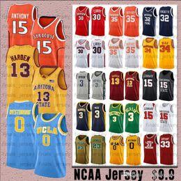 Camiseta de baloncesto ucla online-NCCA Russell 0 Westbrook UCLA Bruins Jersey James Kobe Iverson 23 LeBron 24 Bryant 13 Harden 30 Curry Stephen College Jerseys de baloncesto