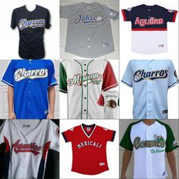Número de beisebol on-line-Mexicali Charros de Jalisco Aguacateros de Michoacan Tomates de Culiacan Jersey 100% Costurado Camisas De Beisebol Personalizado Qualquer Nome Qualquer Número