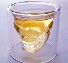 2020 bicchieri caldi di whisky Hot 25/75/150 / 250ML tazza del vino Vetro Teschio shot vetri alcool trasparente Drinkware Vetro di birra Whisky decorazione di Halloween creativo del partito bicchieri caldi di whisky economici