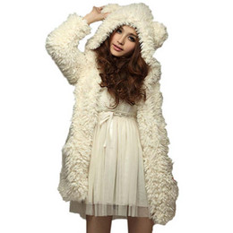 bear ears jacket Coupons - Cute Bear Ear Plush Thick Hooded Coat Autumn Winter Womens Warm Furry Coats Fashion Jackets Outerwear Black White