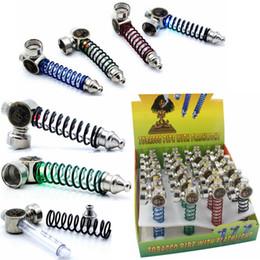 brûler conduit Promotion Têtes de crâne de lumière LED Tuyau de tabac en métal Tuyaux de tabac portables Tuyaux de brûlure d'huile colorés Mini tuyaux pour accessoires de fumer