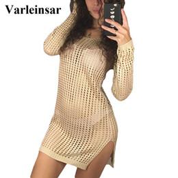 24ea5f1b11 Sheer See Through Sexy Knitted Crochet Tunic Cover Up Cover-ups Dress Beach  Wear Beachwear Female Women V96 Q190521