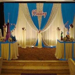 Backdrops blau online-6M Länge Royal Blue Swags Hochzeit Hintergrund Vorhang Pailletten Ereignis Party Feier Bühne Hintergrund Vorhänge Wanddekoration