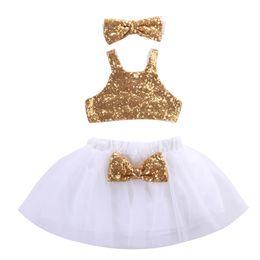 Weihnachten weiße spitze tops online-Weihnachten Kleinkind Kinder Baby Mädchen Pailletten Tops + Tutu Lace White Röcke 3pcs Outfits Set Bow Gold Kleidung