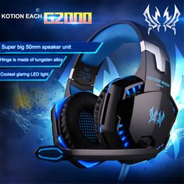 Micrófono para gamers online-KOTION EACH G2000 / G9000 / G1000 / G4000 Gaming Headsets Auriculares grandes con micrófono estéreo Light Bass Deep Ear para PC Computer Gamer PS4